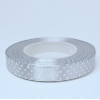 Grey Satin Ribbon with polka dots - 12mm