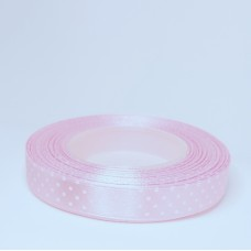 Pink Satin Ribbon with polka dots - 12mm