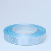 Blue Satin Ribbon with polka dots - 12mm