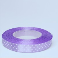 Violet Satin Ribbon with polka dots - 12mm