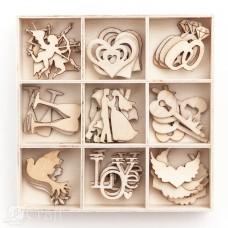Wooden shapes - Wedding - 45 pcs