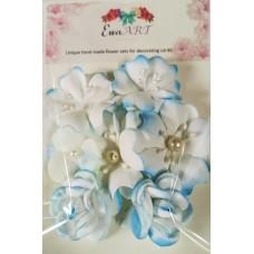 Unique hand-made flower set - 016 BLUE