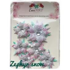 Unique hand-made flower set - Zephyr snow