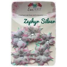 Unique hand-made flower set - Zephyr silver