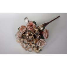 Bunch of roses with crystals