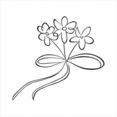 Three flowers with a ribbon- P01-294 Stamp