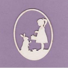 Girl and bunny Easter egg - 0172 Cardboard