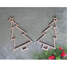Christmas tree with the star 2 pcs - 0366 Cardboard